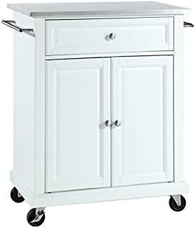 Crosley Furniture Cuisine Kitchen Island with Stainless Steel Top - White
