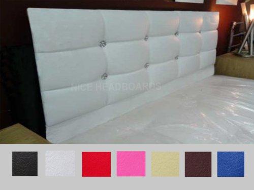Cali hoofdeinde voor tweepersoonsbed met kristallen, 137 cm, kunstleer, 7 kleuren Doppio zwart.