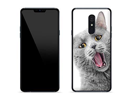 etuo Hülle für LG G7 Fit - Hülle Foto Hülle - lächelnde Katze Handyhülle Schutzhülle Etui Hülle Cover Tasche für Handy