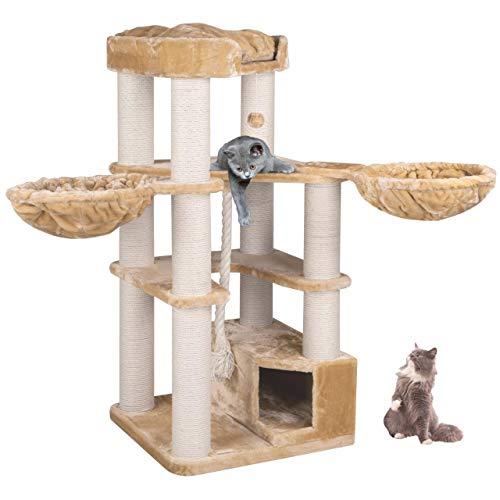 Happypet® Kratzbaum XL stabil | 161 cm hoch | für große Katzen | 47 kg Premium Qualität | 12 cm Dicke Sisalstämme | Höhle, Liegemulde, Spiel-Tau | geprüfte E1 Holzplatten | Main Coon | BEIGE – Creme