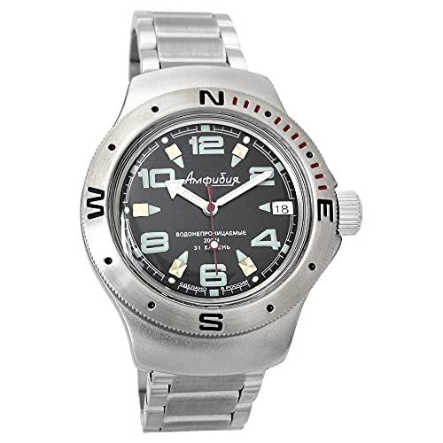 Vostok Amphibia 060334 - Reloj de buceo ruso para hombre (200 m, correa de acero inoxidable)