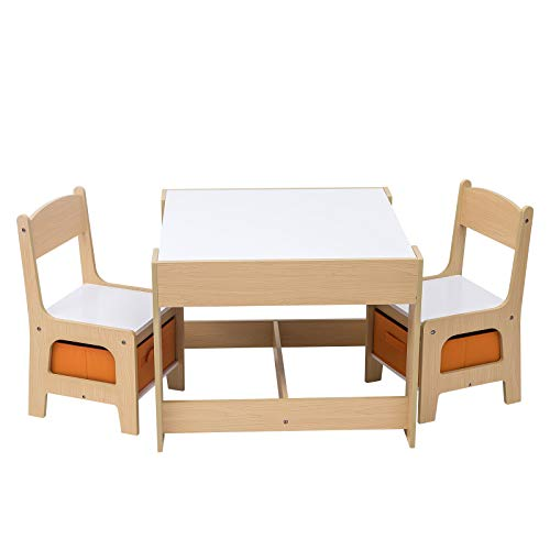 WOLTU Table with 2 Chairs Wooden Kids' Children's Desk Stools Set for Preschoolers Boys and Girls Activity Build & Play Table Chair White Set SG002