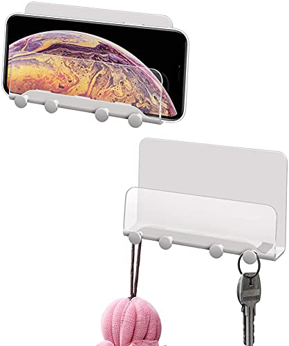 Soporte para teléfono móvil y llaves para iPhone, adhesivo de pared, para baño, cocina, oficina, compatible con todos los teléfonos móviles y tabletas mini