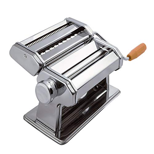 Pasta Maker Machine Hand Crank - Roller Cutter Noodle Makers Best for Homemade Noodles Spaghetti Fresh Dough Making Tools Rolling Press Kit - Stainless Steel Kitchen Accessories Manual Machines California