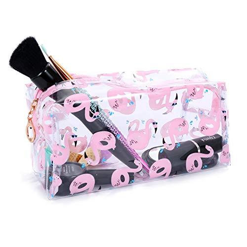 MoGist Trousse de Toilette Sac de Rangement Imperméable Sac de Voyage Maquillage Sac à Main PVC Rose Transparent