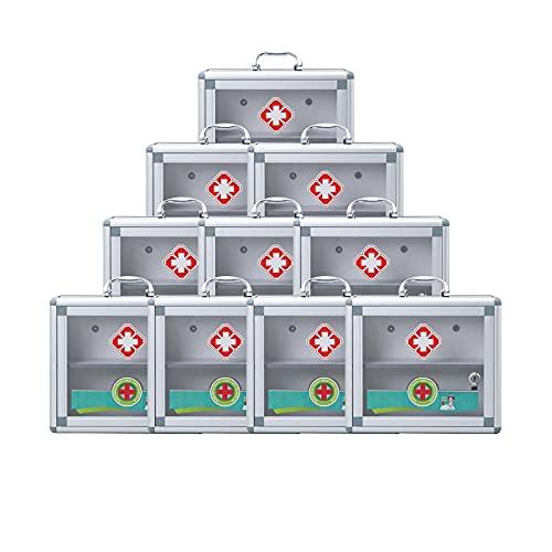 TLYING 10 Cofres de Medicina Caja médica Multifuncional Multifuncional de Pared con Cerradura, Adecuado para fábrica/Escuela/Familiar/Deportivo,11.8×4.3×10.2 in