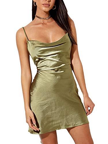 Vialogry Damen-Kleid, sexy, einfarbig, rückenfrei, Y2K, figurbetont, Party, Club, Tank-Kleid, modisch, ärmellos, Kleider für Damen Gr. 36, olivgrün