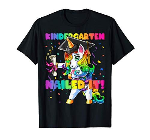 Flossing Unicorn Kindergarten Graduation Cap Gift for Girls T-Shirt