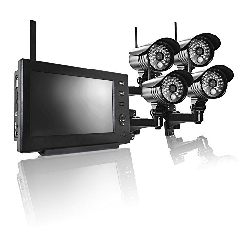PremiumX Videoüberwachungsanlage 4X Kamera mit Monitor Überwachungsanlage Sicherheitskamera Netzwerkkamera Nachtsicht Funk Haus Video Überwachungssystem IP CAM