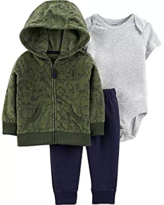 Carter's Baby Boys' 3-Piece Little Jacket Set (Green/Woodland Creatures, 3 Months)