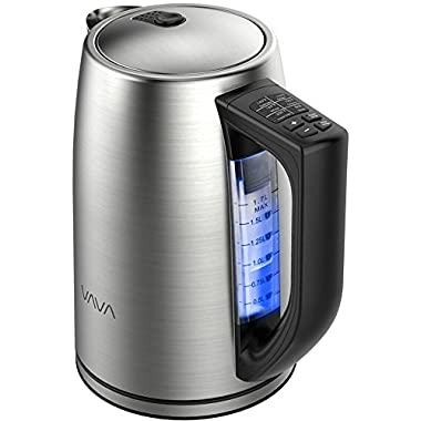 VAVA 1.7 Liter Electric Kettle Adjustable Temperature Control Stainless Steel Tea Kettle Cordless Hot Water Boiler Heater (BPA-Free Build, Strix Control, FDA Approved, Keep Warm Function)