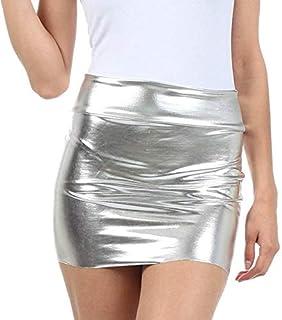 Royal Finish Women Shiny Faux Leather Metallic Sexy Mini Skirt Dress
