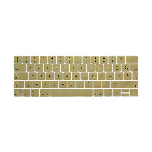 For MacBook Pro Retina 13 15 TOUCHBAR 2016 Models A1706 A1707 French Language Keyboard Cover Coque Clavier AZERTY pour-Gold-