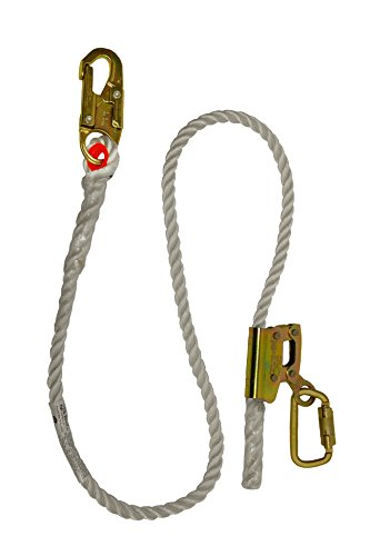 """Elk River 34406 Quick-Adjustable Nylon Rope Positioning Lanyard with Carabiner and Zsnaphook, 3600 lbs Gate, 5/8"""" Diameter x 6' Length"""