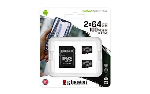 Kingston Canvas Select Plus SDCS2/64GB-2P1A Scheda microSD Classe 10, Multipack con 2 Schede, Adattatore SD Incluso, 64 GB
