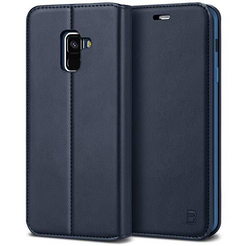 BEZ Hülle für Samsung A8 2018Hülle, Handyhülle Kompatibel für Samsung Galaxy A8Tasche, Hülle Schutzhüllen aus Klappetui mit Kreditkartenhaltern, Ständer, Magnetverschluss, Blau Marine