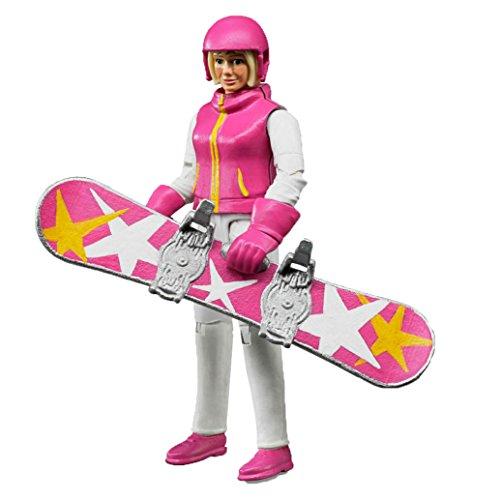 Bruder 60420 - Minifigur-bworld Snowboardfahrerin mit Zubehör