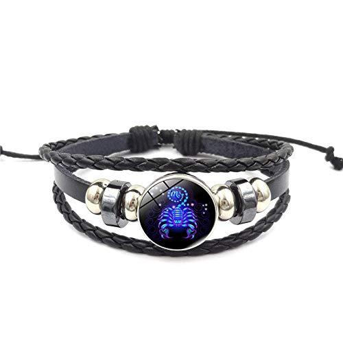 Alwayswin Kreatives Armband 12 Sternbild Sternzeichen Armband Männer Frauen Geflochtene Lederarmbänder Glänzendes Glaskristallgeometrisches Polygonales Armband Damen Schmuck Geschenk