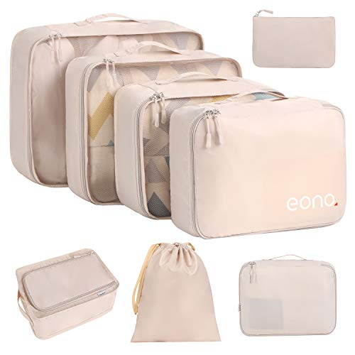 Eono by Amazon - 8 Pcs Packing Cubes for Suitcase Lightweight Luggage Packing Organizers Packing Cubes for Travel Accessories, Beige