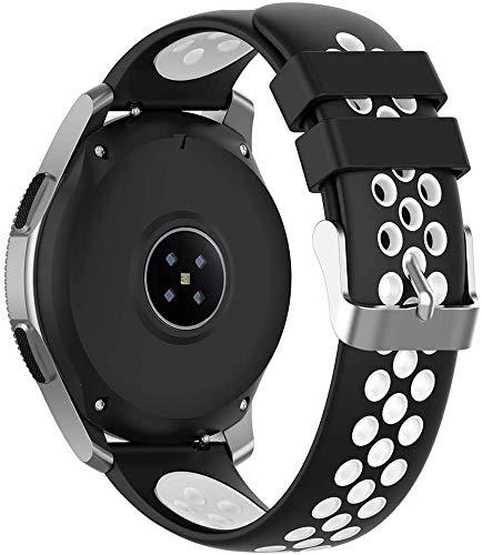 Abasic Correa de Reloj Recambios Correa Relojes Caucho Compatible con Ticwatch 2 / C2 (20mm) / E - Silicona Correa Reloj con Hebilla (20mm, En Blanco y Negro)
