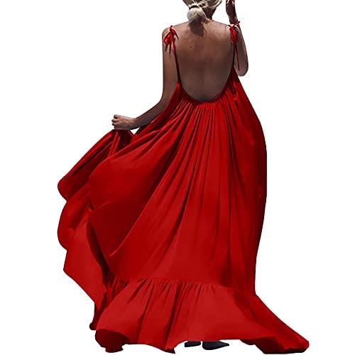 AMhomely Vestido de verano para mujer, para mujer, informal, sin mangas, talla grande, suelto, vestido largo para playa, fiesta, elegante, vestido casual de playa, vestido de playa