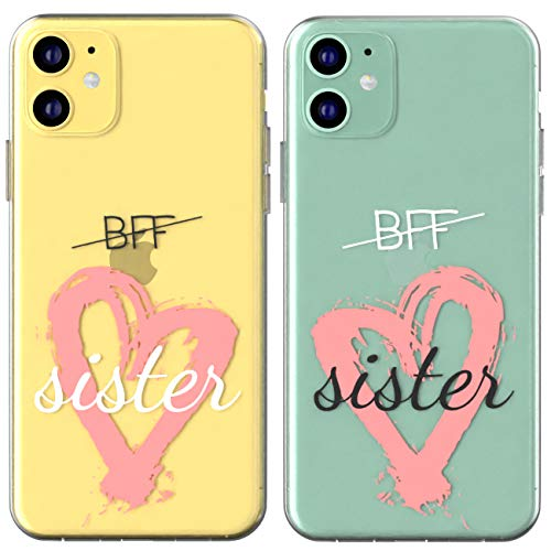 Toik Matching Couple Cases for Apple iPhone 11 Pro Xs Max Xr 10 X 8 Plus 7 6s 5s SE Clear Love Girlfriend Boyfriend Cover Sister BFF Flexible Drawing Best Friend Hearts Cute Lightweight Quote