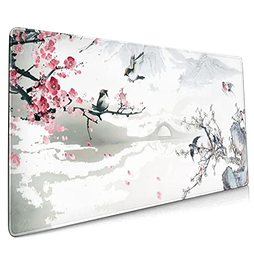 Cherry Blossom Sakura Gaming Mouse Pad 35.4×15.7inch with Stitched Edges Extended Waterproof Desk Pads Non-Slip Rubber Base Large Keyboard Mat Computer Gaming Mousepad for Work/Office/Home (Ten)