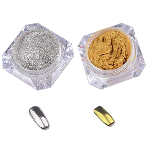 Qinlee 2pcs/Set Mirror Nail Powder Chrome Nail Pigment Shining Metallic Nails