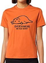 Bhains Ki Ankh Women Orange Cotton Printed Overthinking & Also Hungry Round Neck T-Shirt