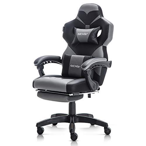 Silla de escritorio para juegos, de piel sintética, con soporte lumbar y reposapiés, silla giratoria moderna para mujeres y hombres, color gris