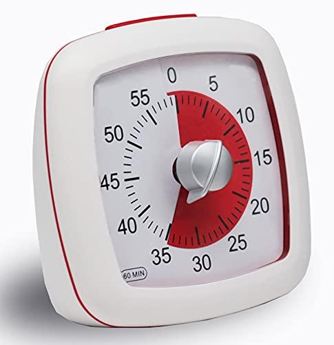 Timer, visueller Countdown Timer mit 60 Min, der stille Timer, Kurzzeitwecker als EIN praktisches Zeitmanagement-Werkzeug für Kinder und Erwachsene Weiß