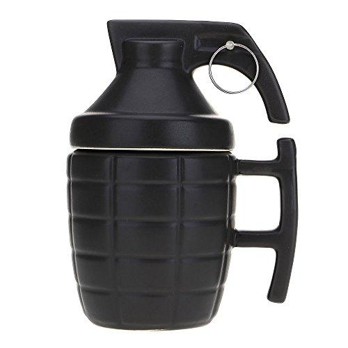 HuntGold Keramiktasse in 3D-Granatenform, 280 ml, für Kaffee, Tee, Wasser, Flüssigkeit, mit Deckel, Schwarz