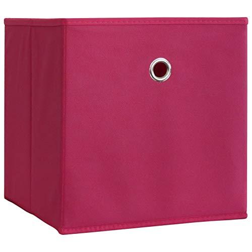 VCM 10er Set Faltbox Klappbox Sammelbox Stoffbox Regalbox Regalkorb ohne Deckel Pink 28 x 27 x 27 cm 'Boxas'