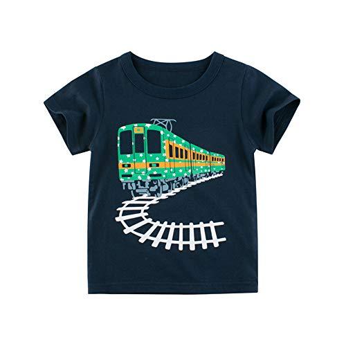 Sommer T-Shirt für 1-10 Jahre Alt Kinder Jungen Mädchen mit Cartoon Elefant Muster - DOTBUY 100% Baumwolle - Rundhals Kurzarm T-Shirt Oberteil Kurzarm Oberteil (Dunkelblauer Zug,130cm)