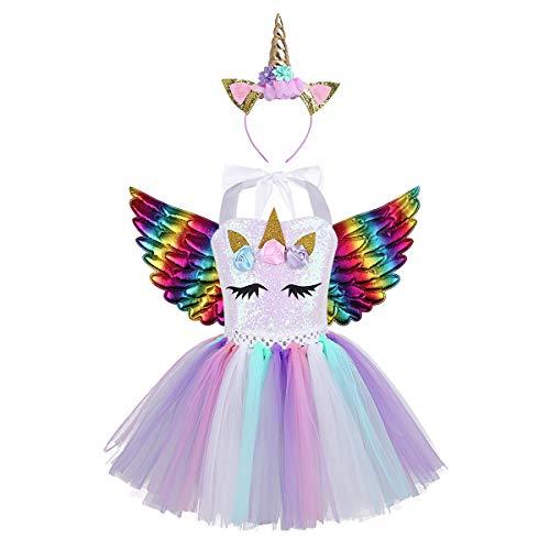 Agoky Disfraz Tutú de Unicornio Niñas Vestido de Fiesta Lentejuelas Cuello Halter Disfraz Princesa con Diadema Alas para Carnaval Halloween Cosplay Colorful 4-5 Años