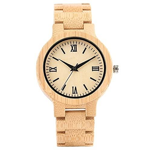 FFHJHJ Relojes de Madera de bambú Vintage para Hombre, Hechos a Mano, de Madera, de Cuarzo, analógicos, Relojes Deportivos, Reloj de Moda para Hombre,, 1