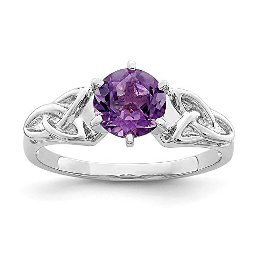 925 Sterling Silver Purple Amethyst Irish Claddagh Celtic Knot Trinity Band Ring Size 7.00 Gemstone Fine Jewelry For Women Gifts For Her