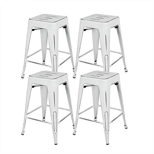 Bonzy Home Bar Stools Set of 4, 24 inch Backless Metal Barstools, Distressed Designed, Stackable Home Kitchen Dining Stool, Indoor Outdoor Patio Bar Chair - Distressed White