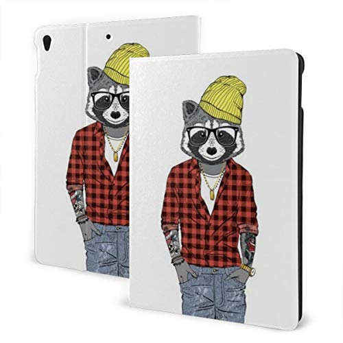 Animal Design Case for ipad 7th Generation 10.2in and ipad Air 3 & Pro 10.5in TPU Protective Leather Cover Adjustable Stand Auto Wake/Sleep Smart Case - Raccoon Hipster Furry Art