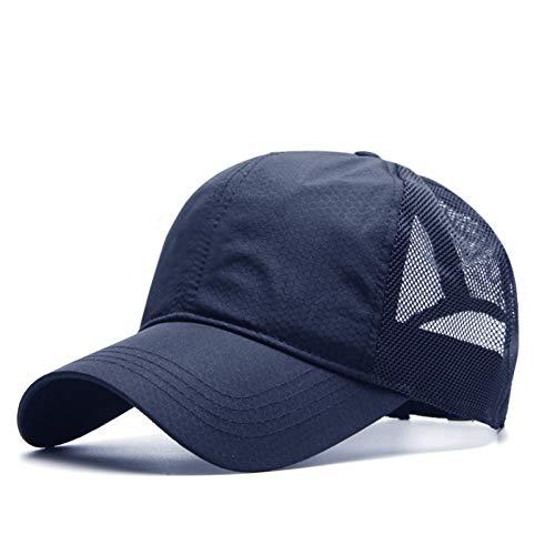 FXSYL Großer Kopf Mann Plus Größen-Baseballmütze-Mann-Sommer-dünne Gewebe-Ineinander greifen-Sonnenhut-männliche Hysteresen-Hüte,Blue,Code 60-65CM