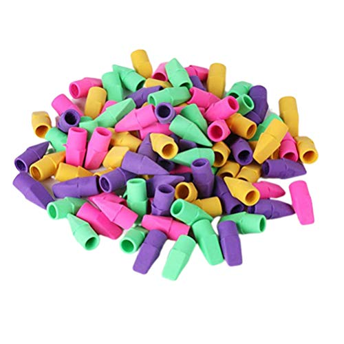 Tomaibaby Pencil Erasers, Pencil Top Erasers Pencil Cap Eraser Pencil Eraser Toppers for School Home Office - Pack of 130 (Mixed Color)