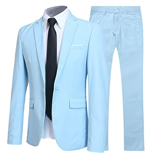 Allthemen Herren 2-Teilig Slim FIT Business Anzug Hellblau Medium