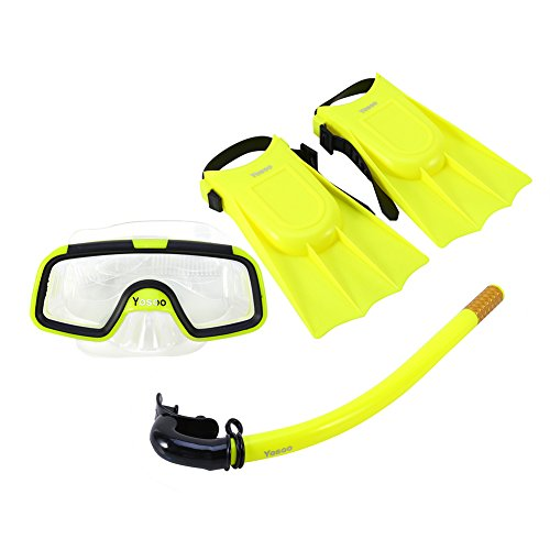 Bnineteenteam snorkelset voor kinderen, snorkelpakketten voor kinderen van 3-4 jaar met masker, snorkel-cuba-bril en siliconenvinnen (geel)