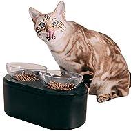 KALOZOI Premium Double Cat & Dog Bowls With Storage, Healthiest Posture, Anti-Vomiting, Raised 15° T...