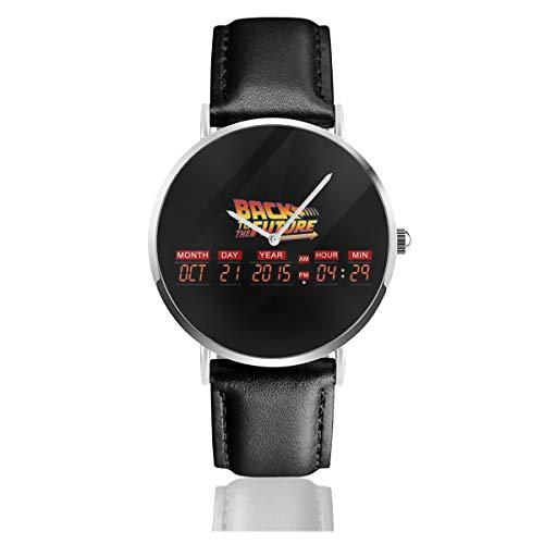 Unisex Business Casual Delorean Countdown-Zeitmaschine Zurück in die Zukunft Uhren Quarz Leder Uhr mit schwarzem Lederband für Männer Frauen Junge Kollektion Geschenk