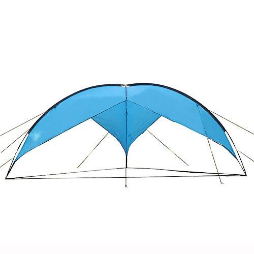 ZZRS Velas de Sombra Azul acampa Impermeable Encerado con Viento Cuerda y Tierra Nails, 4,8 × 4,8 × 2 m, Carpa Multifuncional Huella de Camping, Senderismo y Equipo de Supervivencia, de Peso Ligero