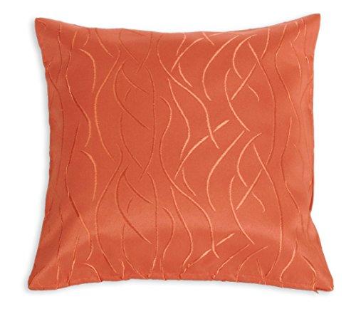 Kissenhülle #257 Damast Streifen Muster 40x40 oder 50x50 cm Kissenbezug Deko modern (Terra dunkel, 40x40 cm)