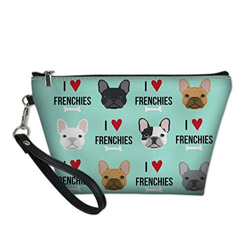 PZZ BEACH Love French Bulldog Cosmetic Bags for Women Girls, Leather Zipper Travel Toiletry Bag Portable Makeup Bag Pouch