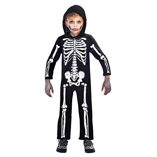 amscan 9907092 – Disfraz infantil de esqueleto, estructura de hueso, carnaval, fiesta temática, Halloween