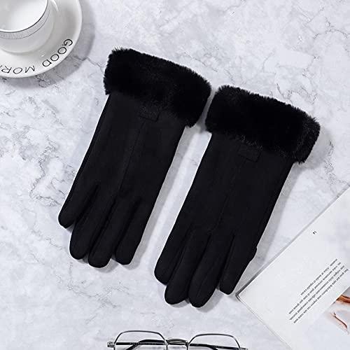 Guantes de Mujer de Invierno con Pantalla táctil, Guantes de Dedo Completo cálidos y Peludos para Mujer, Guantes de Invierno para Mujer para conducción Deportiva al Aire Libre-Black4-One Size